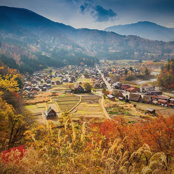 Shirakawa-go village in Gifu prefecture, Japan stock photo