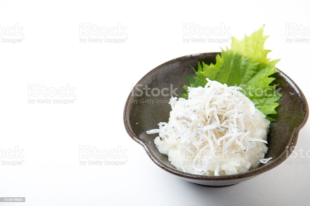 shirasu daikon stock photo