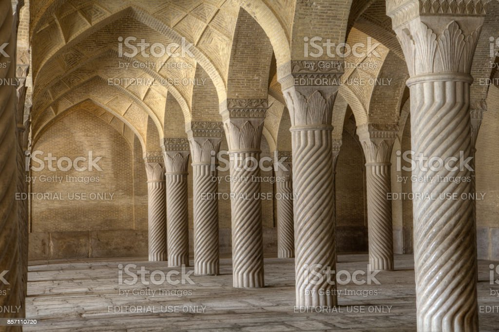 Shiraz Iran Columns Masjed-e Vakil Regents Mosque stock photo