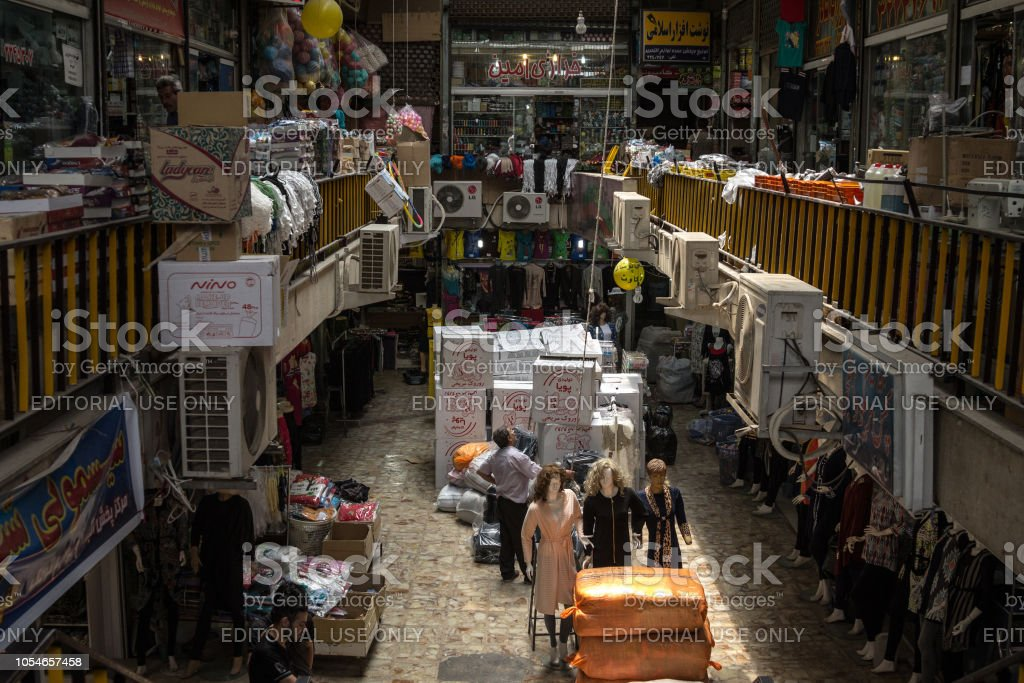 Picture of a covered street of the Yazd Vakil bazar, in iran, packed...