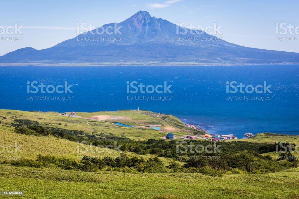 Shiretokomanai Village, Rebun Island, and Mt. Rishiri stock photo