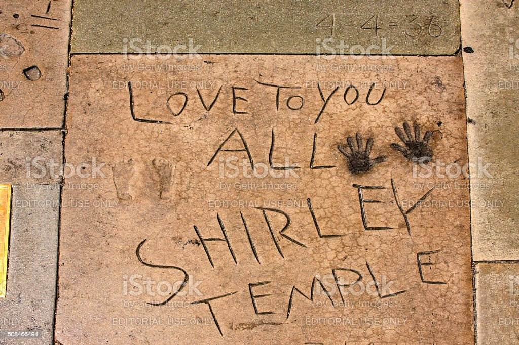 Shirley Temple hand and shoe prints in Hollywood CA stock photo