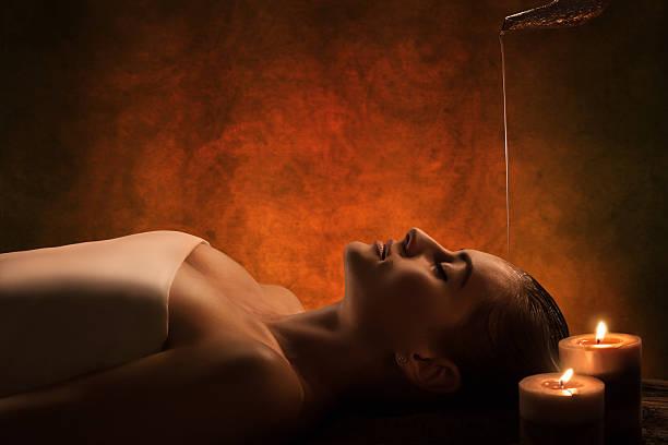 Shirodhara massage stock photo