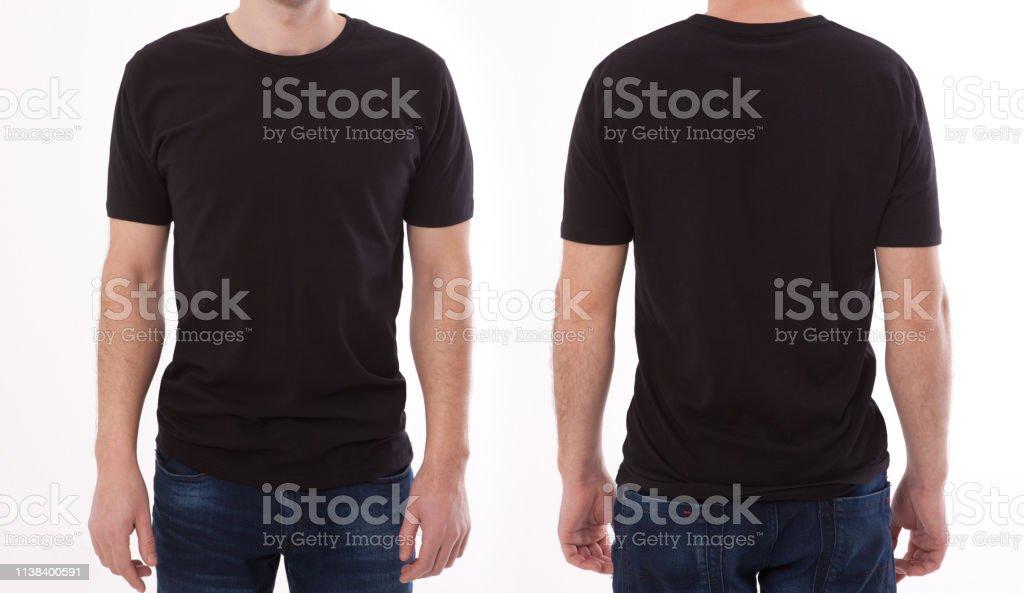 シャツのデザインと人々の概念-ブランクブラック t シャツフロントとリアの若い男のクローズアップ孤立しました。デザイン印刷用のモックアップテンプレート - Tシャツのロイヤリティフリーストックフォト