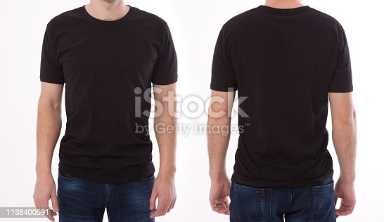 istock Shirt design and people concept - close up of young man in blank black tshirt front and rear isolated. Mock up template for design print 1138400591