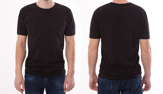 Shirt design and people concept - close up of young man in blank black tshirt front and rear isolated. Mock up template for design print