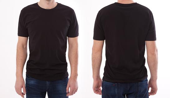 シャツのデザインと人々の概念ブランクブラック T シャツフロントとリアの若い男のクローズアップ孤立しましたデザイン印刷用のモックアップテンプレート - Tシャツのストックフォトや画像を多数ご用意