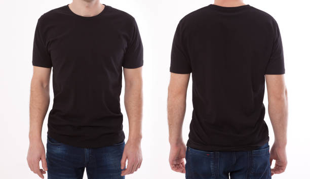 shirt design and people concept - close up of young man in blank black tshirt front and rear isolated. mock up template for design print - back stock pictures, royalty-free photos & images