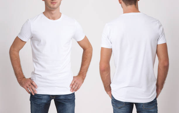 shirt design and people concept - close up of young man in blank white t-shirt isolated. - t shirt stock photos and pictures