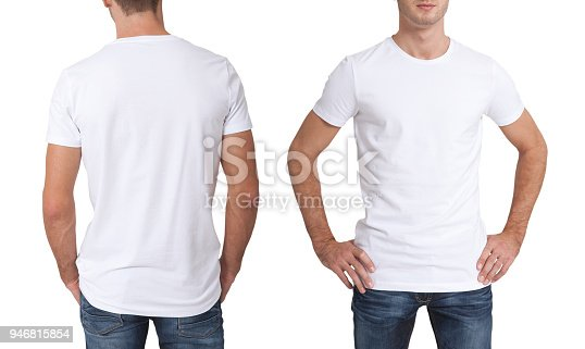 istock Shirt design and people concept - close up of young man in blank white t-shirt isolated. 946815854