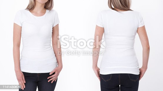 istock Shirt design and people concept - close up of young woman in blank white tshirt front and rear isolated. Mock up template for design print 1141430876