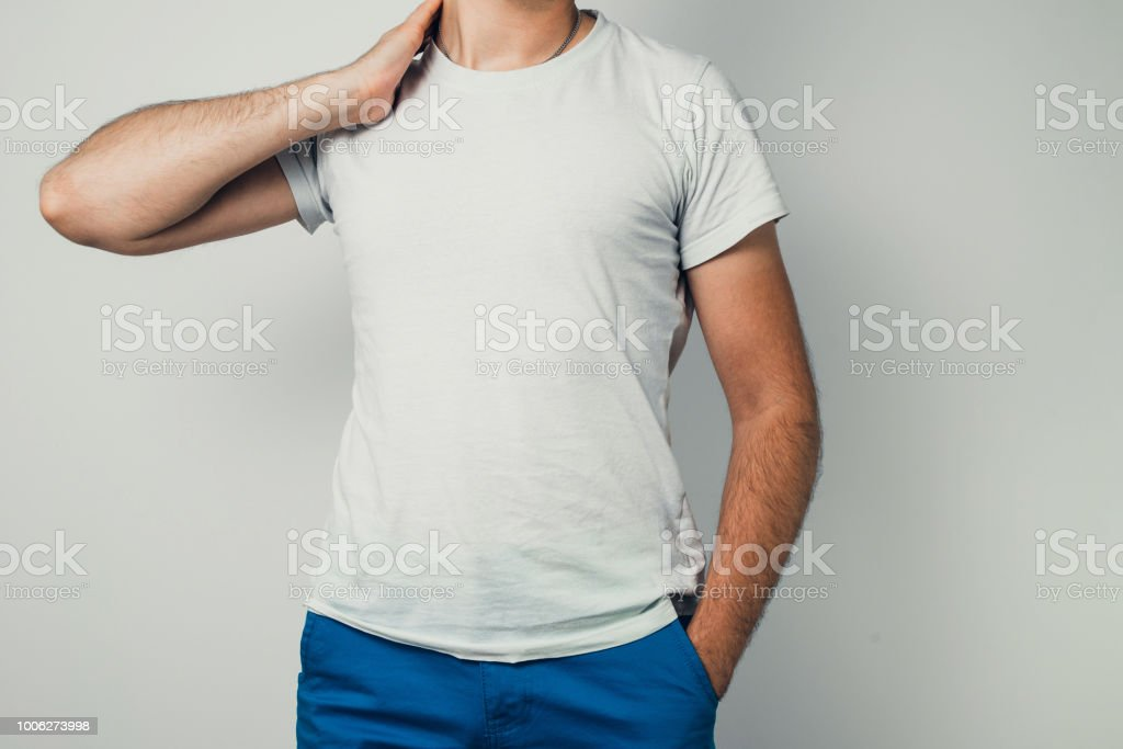 Shirt Design Close Up Of Young Man In Blank White Tshirt Front Isolated Royalty