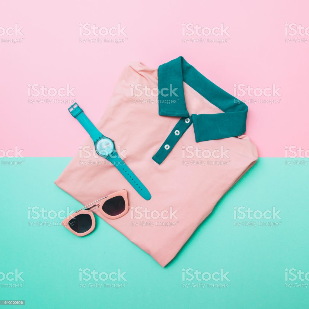 shirt, sunglasses and mint watches stock photo
