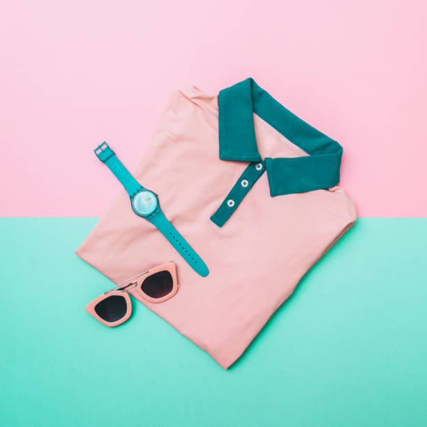 shirt, sunglasses and mint watches - neon partylebensmittel stock-fotos und bilder