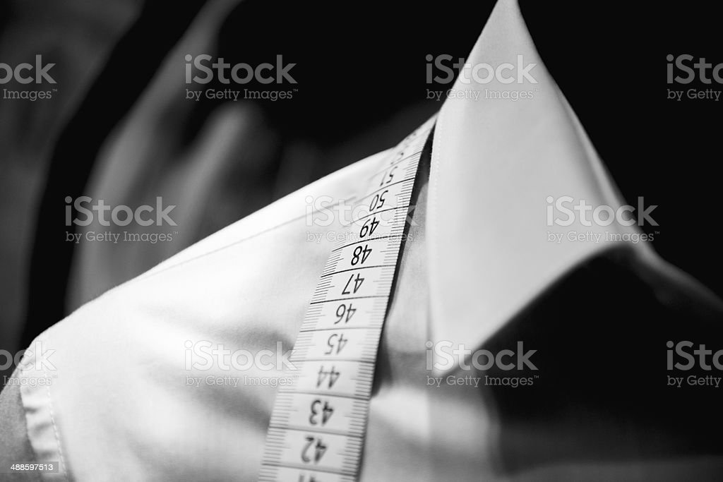 Shirt tailoring in tailor shop stock photo