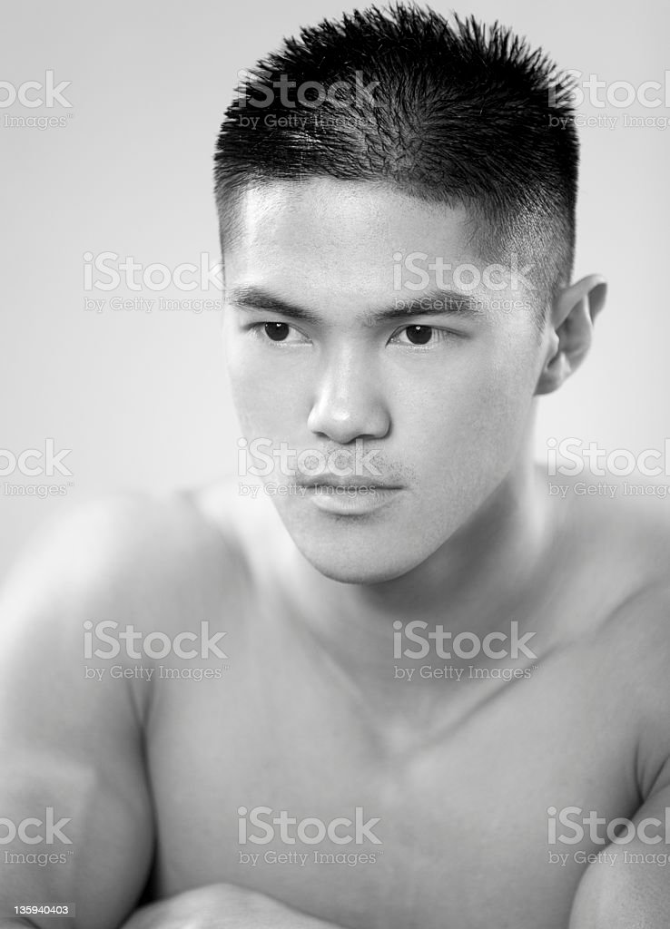 Shirtless Asian Male stock photo