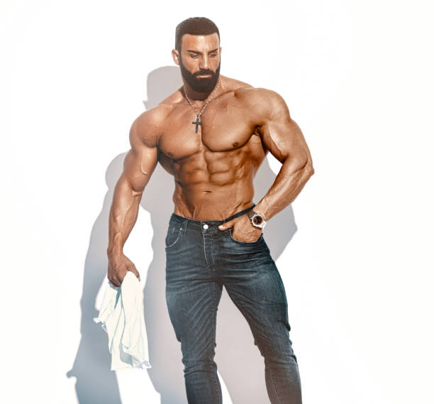 Shirtless, Athletic, Confident, Fashion Handsome Man stock photo
