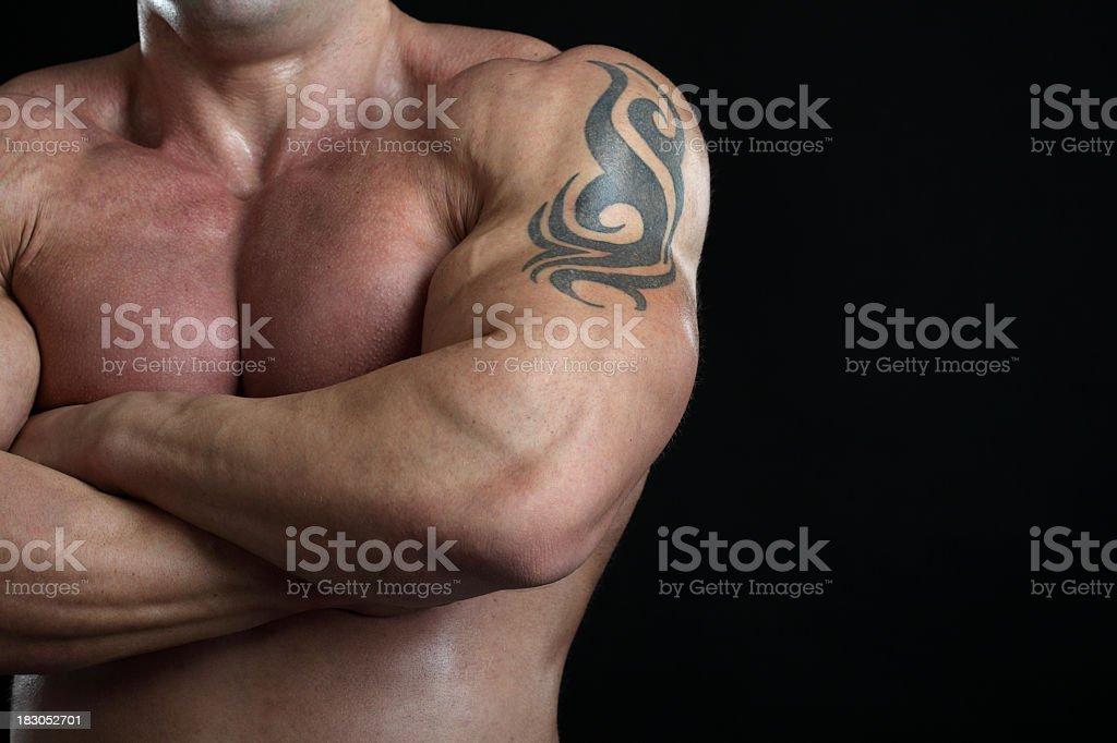 Shirtless bodybuilder posing royalty-free stock photo