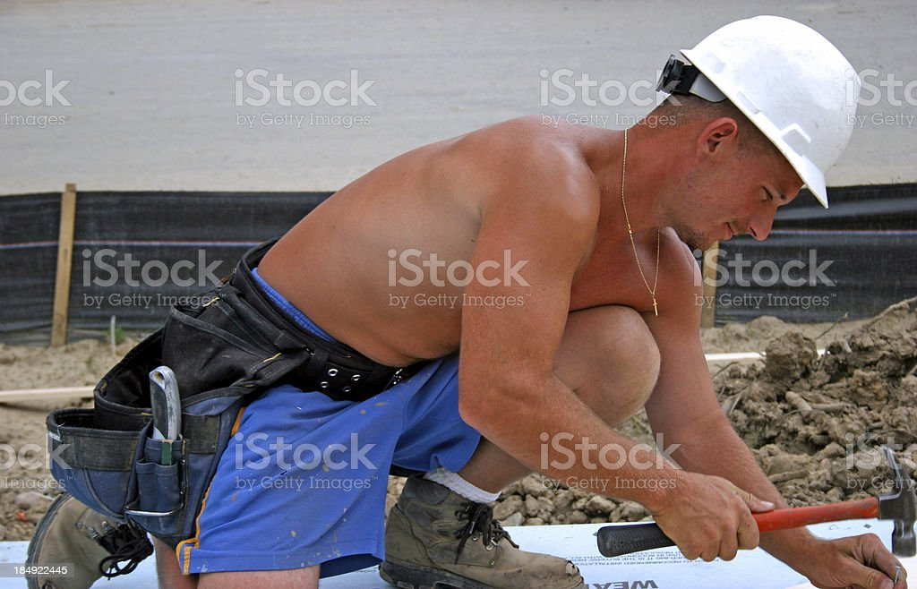Shirtless Contruction Worker Profile stock photo