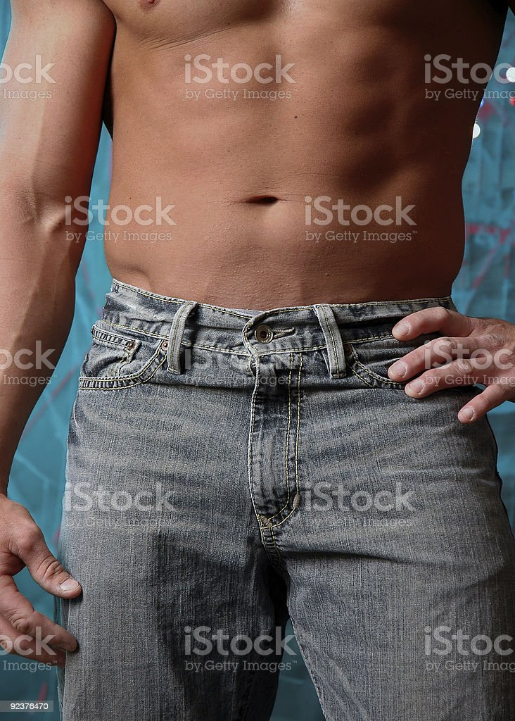 shirtless male in jeans royalty-free stock photo