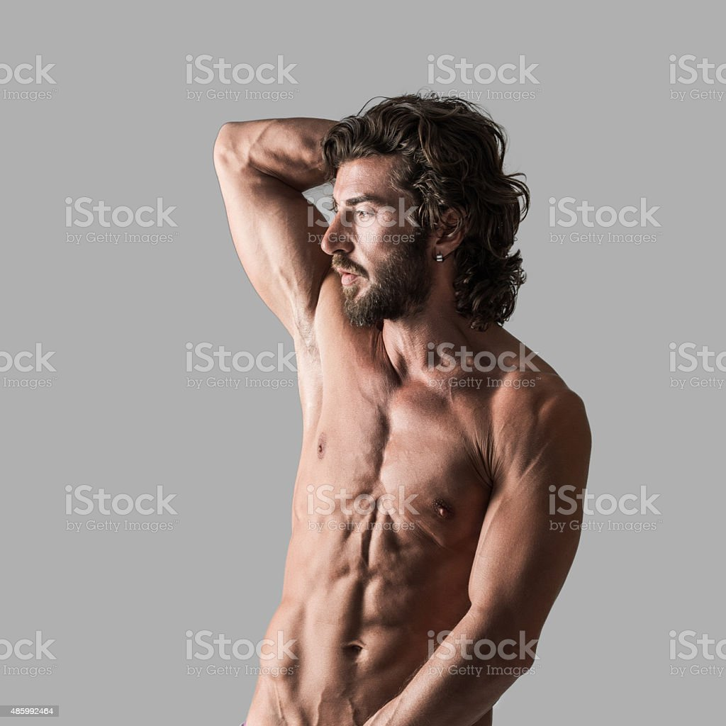 Shirtless male with mascular body stock photo