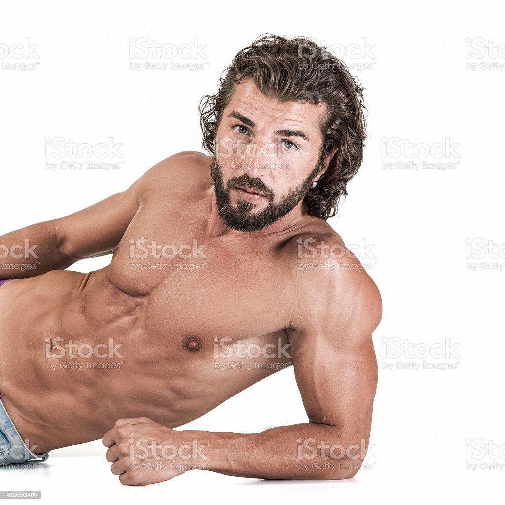 Shirtless male with muscular body stock photo
