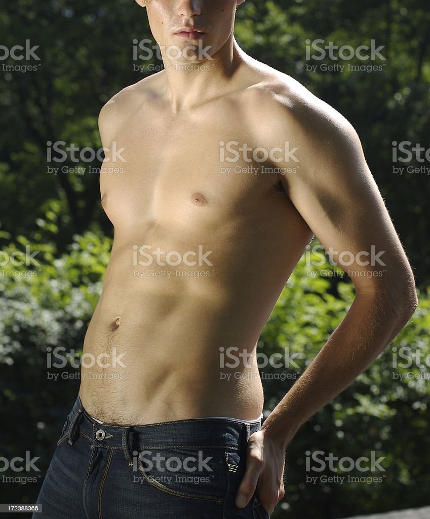 Shirtless Man Against Green Trees Background royalty-free stock photo