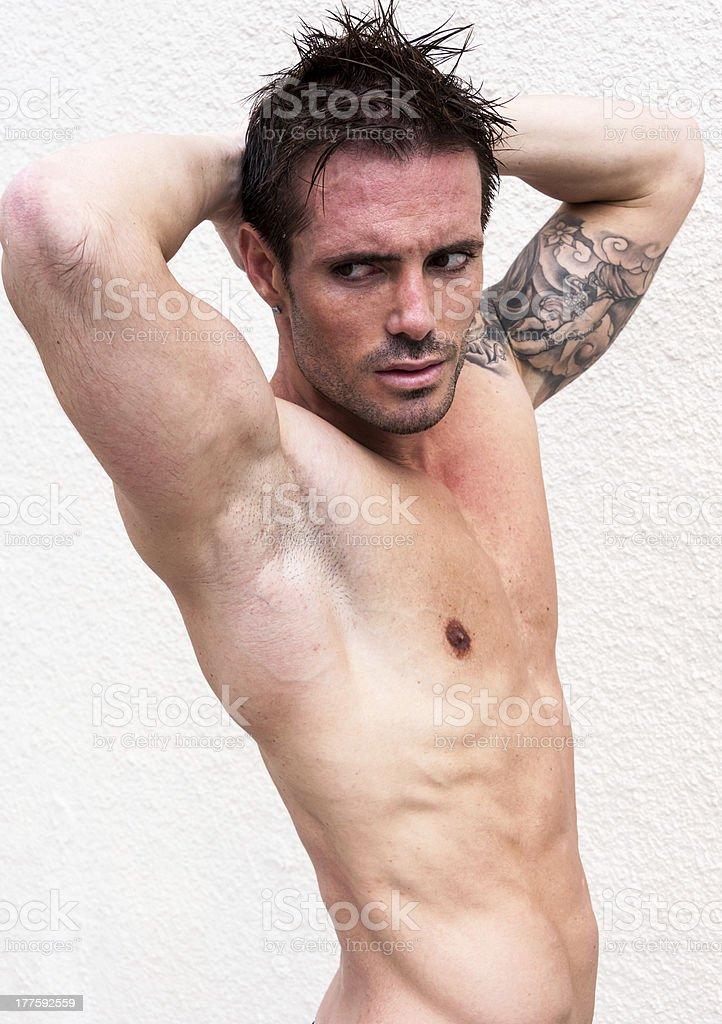 Italian Model Muscular Man. Nude Portrait. Black And White