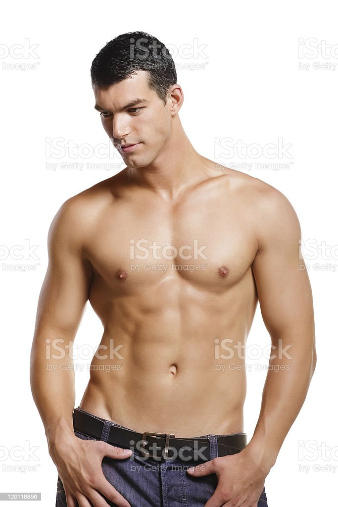 A shirtless man who is very muscular stock photo