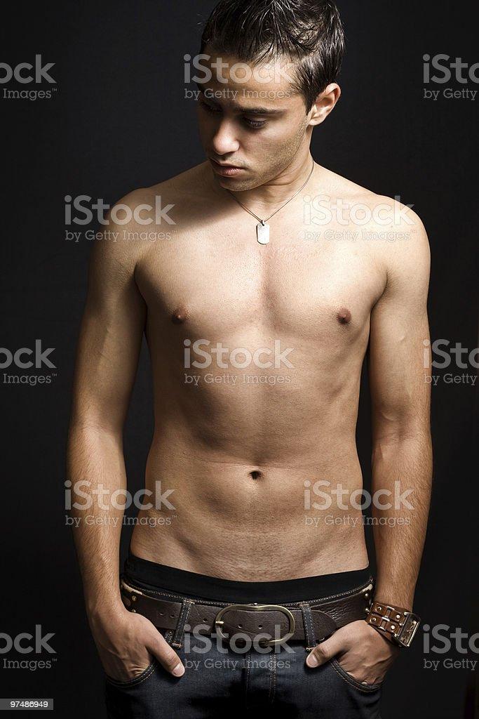 Shirtless masculine man royalty-free stock photo
