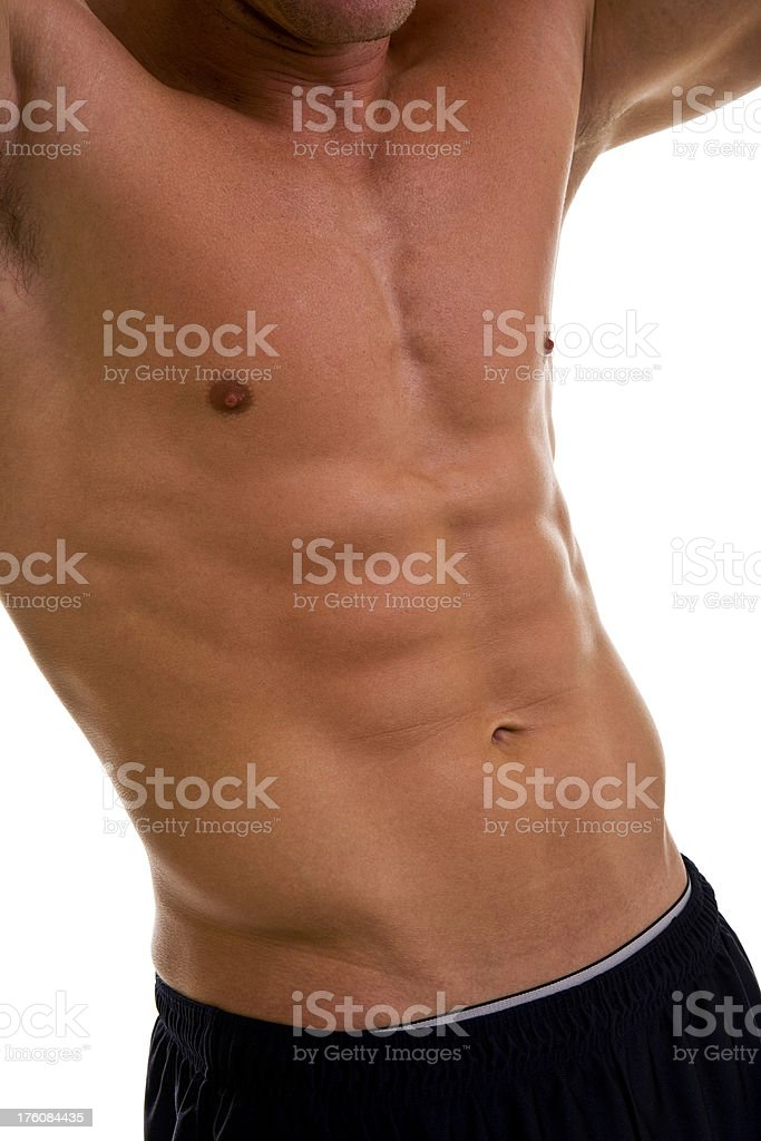 Shirtless muscular male torso six pack abs royalty-free stock photo