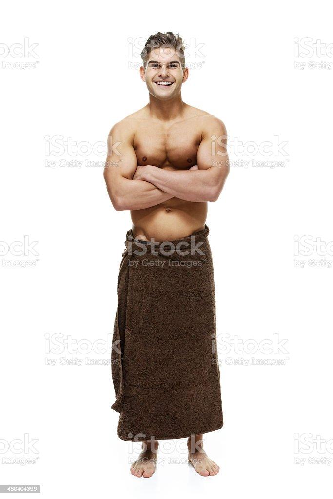 Musculares Sin Camisa Hombre De Pie Con Los Brazos Cruzados ...