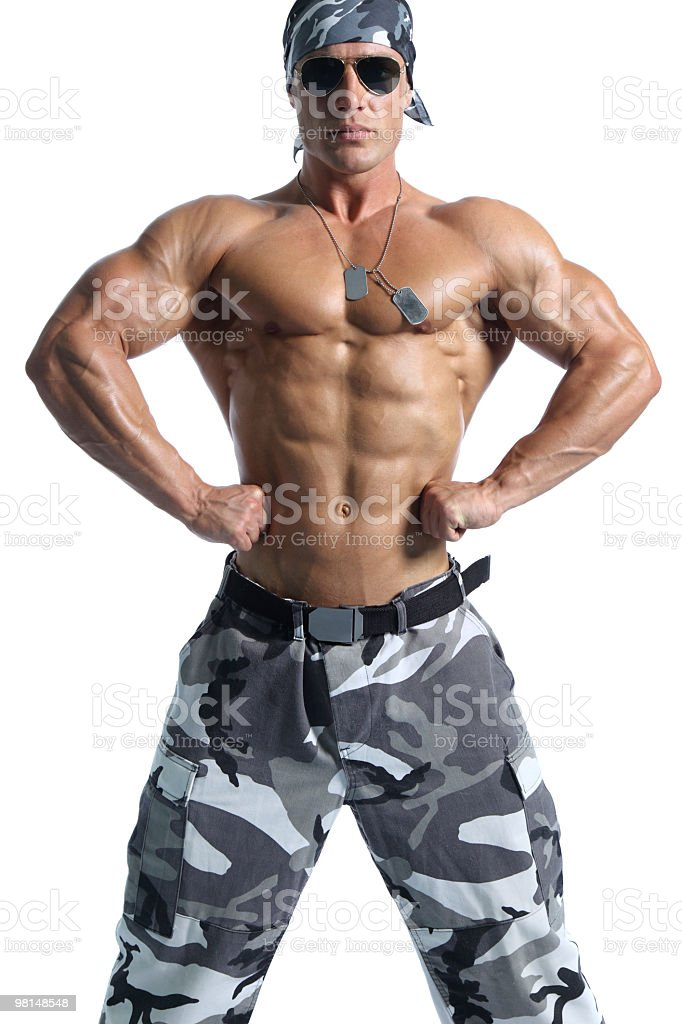 Shirtless muscular soldier portrait royalty-free stock photo