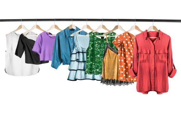 shirts und tops, isoliert - rüschenbluse stock-fotos und bilder