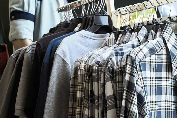Shirts on a hanger stock photo