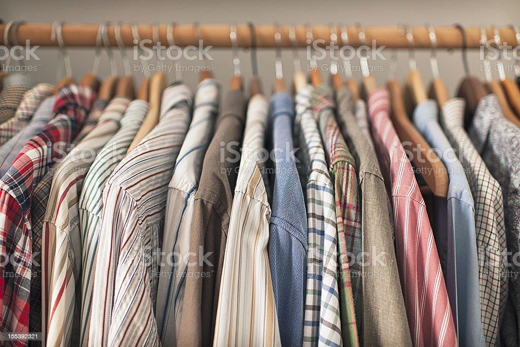 Shirts on Hangers stock photo