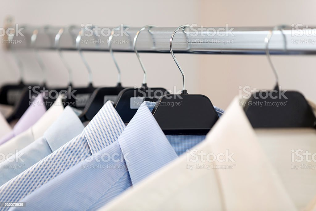 Shirts on the rack stock photo
