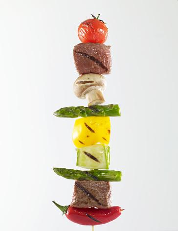 Shish kebab stick on white background