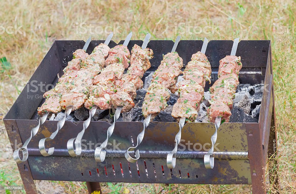 Shish kebab that is grilled on the brazier outdoors royalty-free stock photo