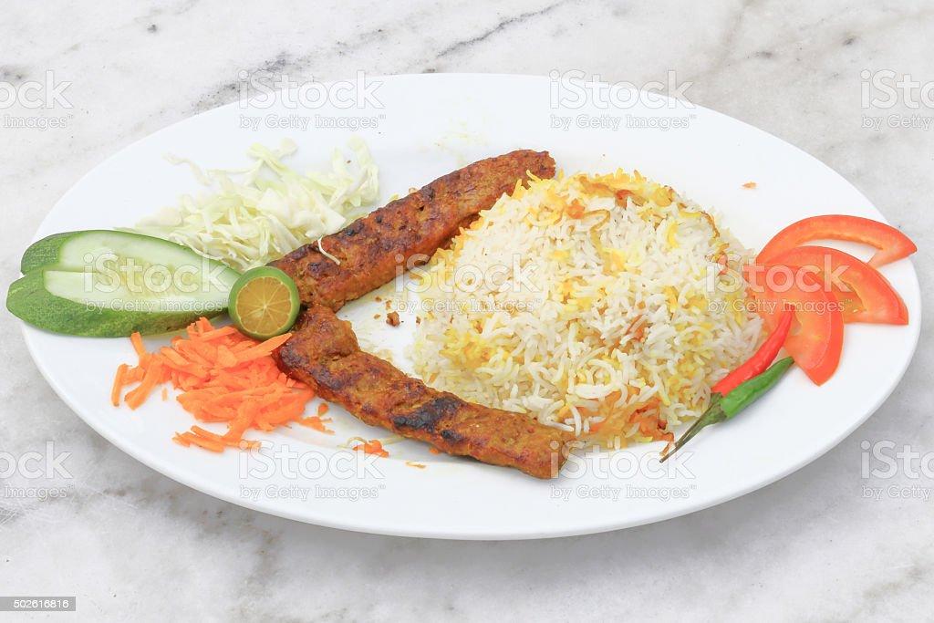 Shish Kebab with Mandi Rice stock photo