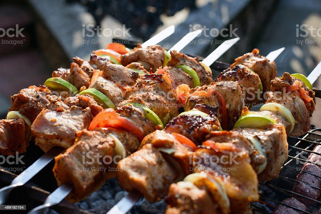 Shish kebabs on skewers stock photo