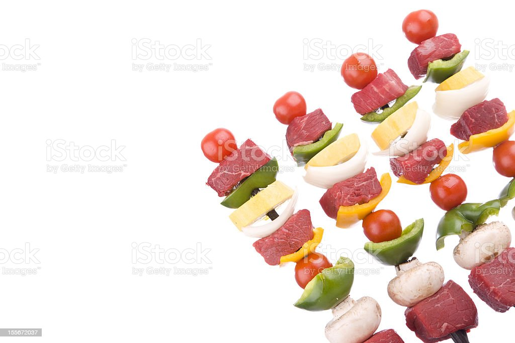 Shish Kebabs ready for Barbeque (XXL) royalty-free stock photo