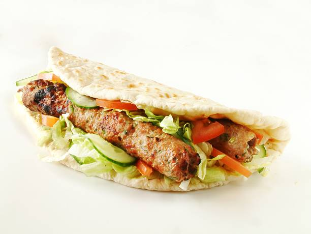 shish kofta kebab shish kofta kebab naan bread stock pictures, royalty-free photos & images