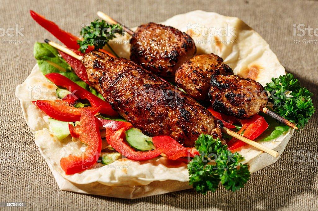 Shish kofte kebab stock photo