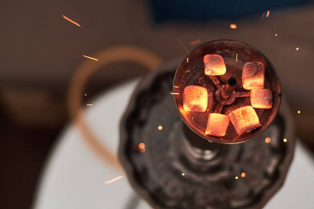 Shisha hookah with red hot coals stock photo