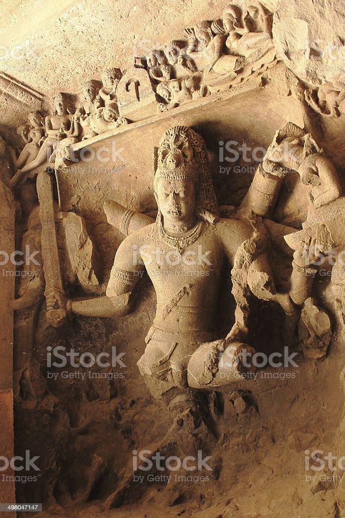 Shiva Carving in elephanta caves royalty-free stock photo
