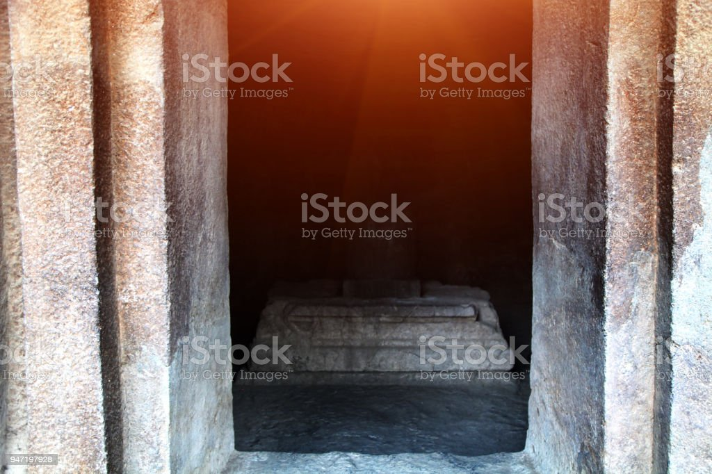 Shiva idol In the Elephanta Island Cave stock photo