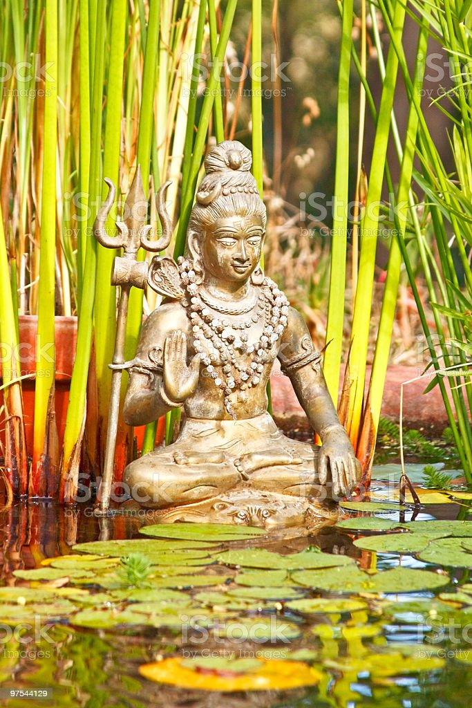 Shiva statue in a pond royalty-free stock photo