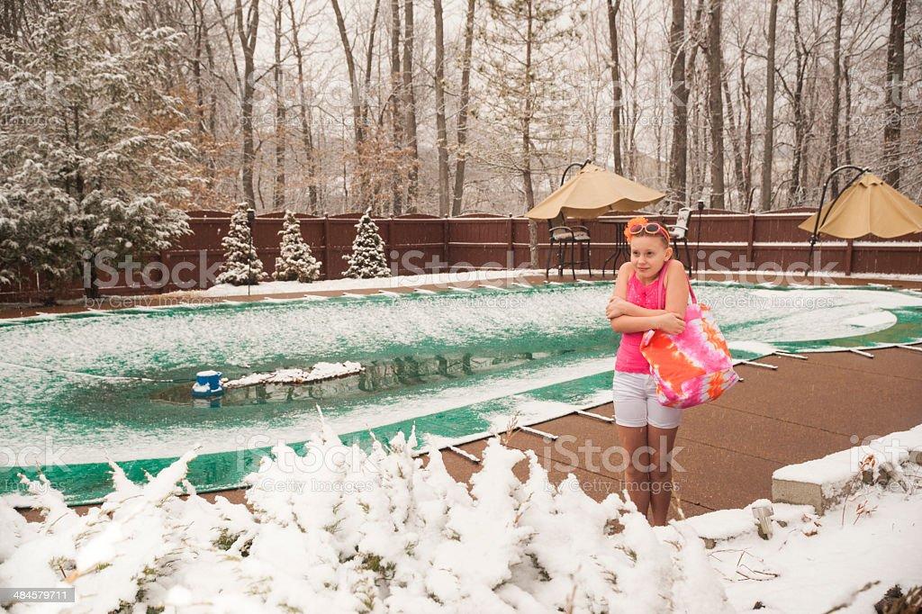 Shivering girl on spring break stock photo