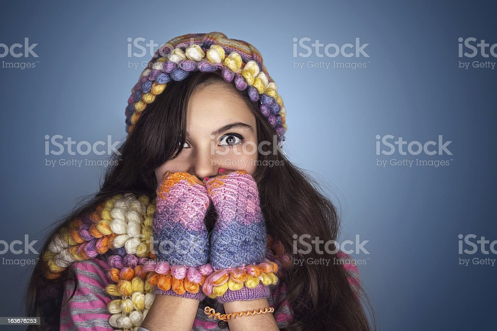 Shivering Teenage Girl royalty-free stock photo